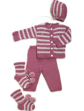 Vauvan vaaleanpunainen asustesetti Novita Nalle | Novita knits