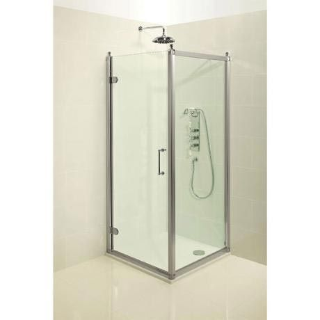 burlington traditional hinged shower door & side panel at