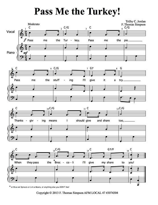 Pass Me The Turkey - Song with Piano/Orff Sheet Music