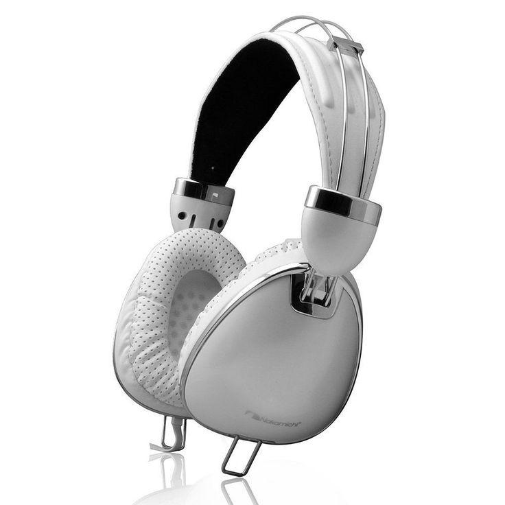 Nakamichi Studio Headphones Foldable Adjustable Leather Earphones NK900 White