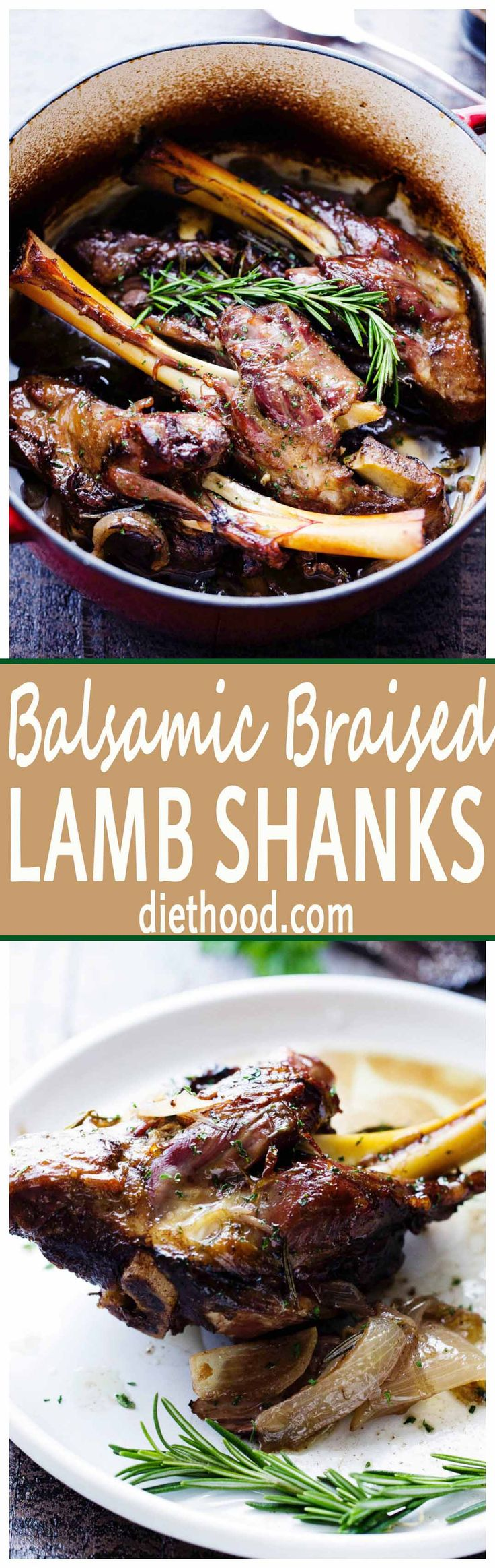 Balsamic Braised Lamb Shanks – A traditional and delicious Easter main dish prepared with lamb shanks slow cooked to a melt in your mouth perfection with balsamic vinegar, wine, garlic and rosemary.