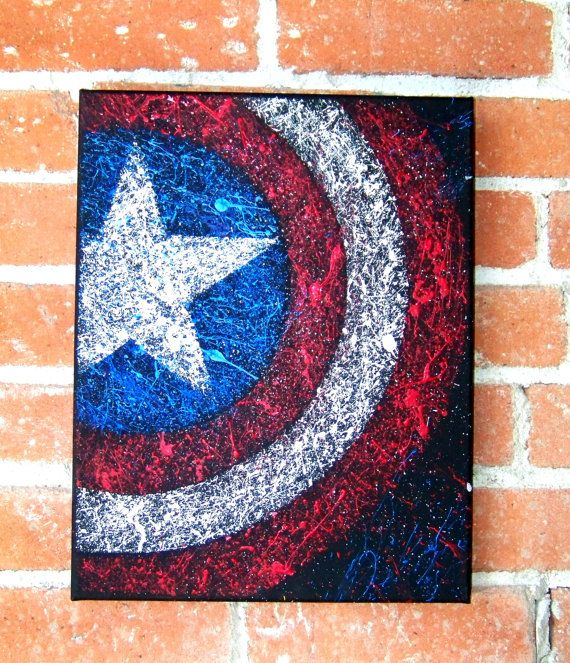 Captain America Shield of Marvel Comics and The Avengers Acrylic on Canvas - Visit to grab an amazing super hero shirt now on sale!