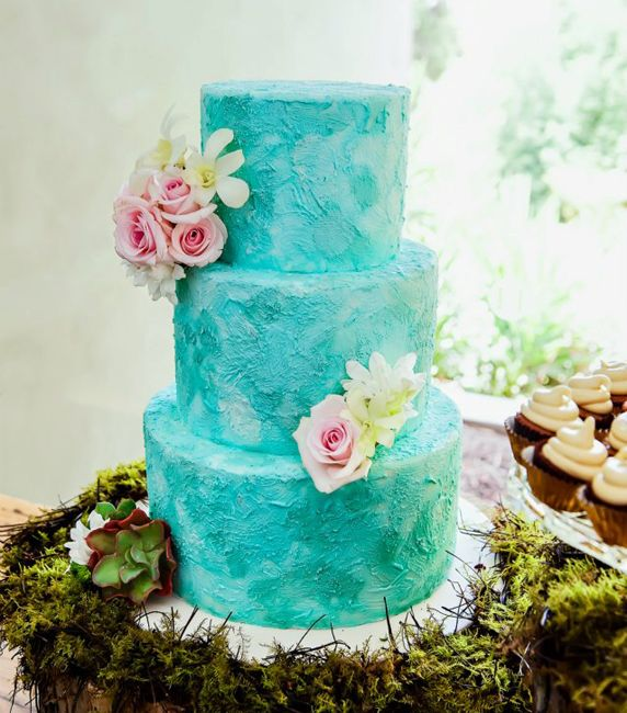 Pretty Pastel Blue Ombre Watercolor Tiered Cake