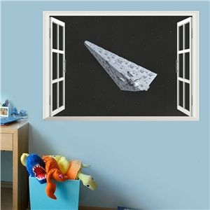 Modern Style Spacecraft Outside the Window PVC 3D Wall Stickers