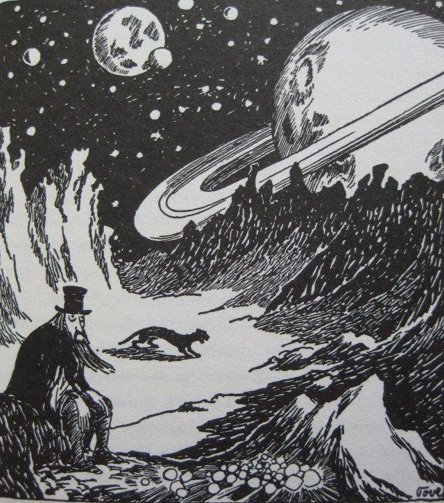 """""""Mutta Kuningasrubiini loisti kuin punainen silmä yöntummaa maata vasten, ja kuussa oleva Taikuri huomasi sen. Hän oli lopettanut etsimisen ja istui väsyneenä ja surullisena kraatterin reunalla lepäämässä, ja hänen musta pantterinsa nukkui jonkin matkan päässä."""" Taikurin hattu"""