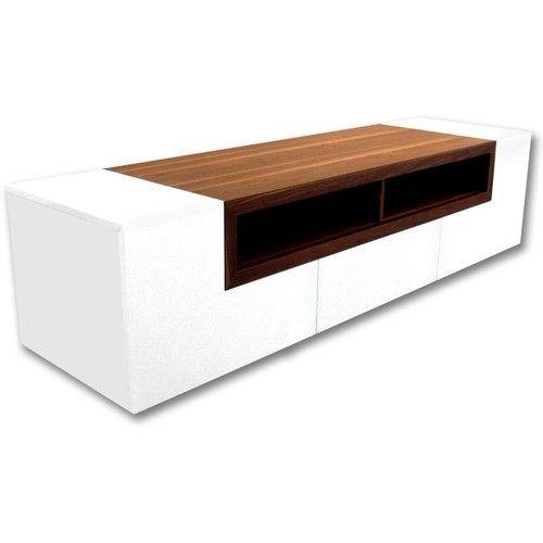 "Bellini Modern Living - Patta 65"" TV Stand in White Gloss and Walnut - PATTA"