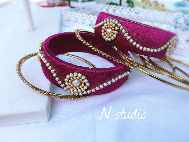 Pink silk thread bangles  #silkthreadjewellery #silkthreadjewelleryqatar