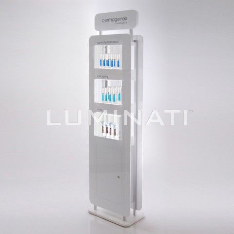 Floorstanding cosmetic display system with 3 tiers and a header panel. Made from white acrylic with a printed header. Designed and manufactured in the UK