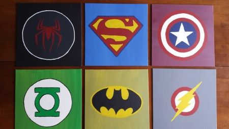 DIY wall art for boys room- superhero logos