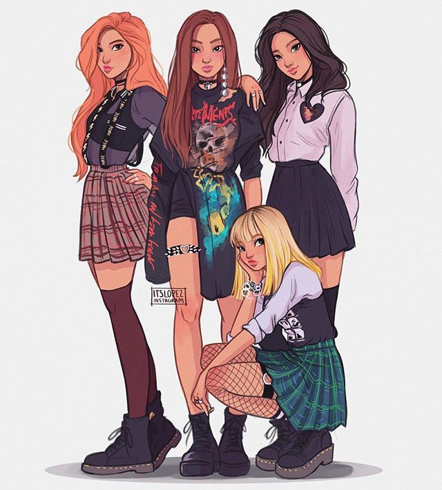 Instagram photo by itslopez - This was so much fun to color and sketch omg the skirts SURE were challenging but it was really fun ALSO Jennie's outfit is all I want in life tbh~ hope you guys like it
