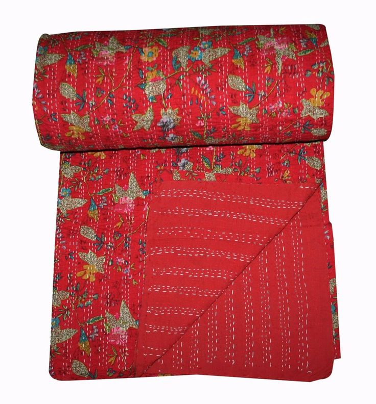 Handmade Queen Throw Kantha Floral Bed cover,Quilt Blanket Bedspread Cotton  #Handmade #Traditional