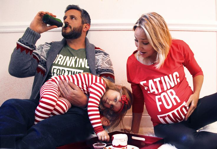 """We're Expecting!  """"Eating for two / Drinking for two"""" family t-shirt set for Christmas"""