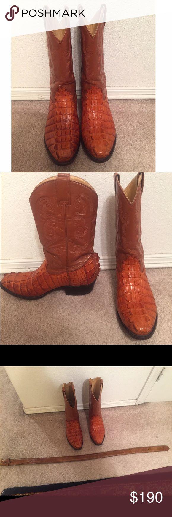 Men's Alligator Boots w/ matching belt Alligator men's boots w/ matching belt. Burnt Orange color. Very good condition. Pecos Bill Shoes Boots