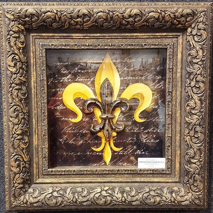 """Scripted Gold Fleur De Lis"" (20x20) framed and accented with Swarovski Elements  ☎ Call (909) 989-8558 or visit our shop in #RanchoCucamonga to purchase this."