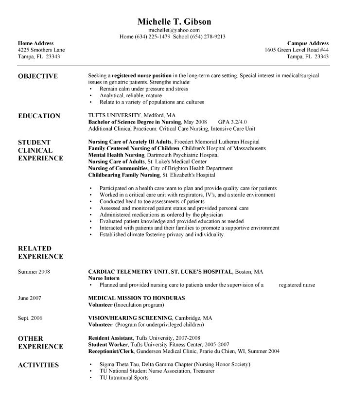 sample resume nursing school