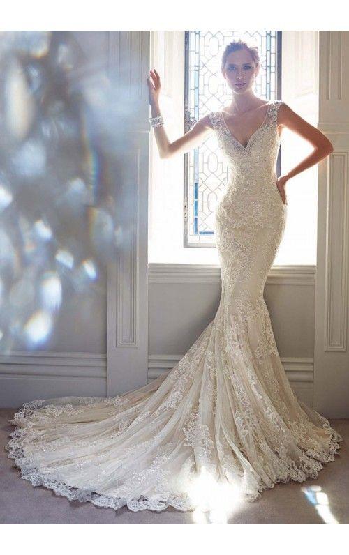 Mermaid V-Neck Appliqued BeadedButton Back Tulle Chapel Train Wedding Dresses