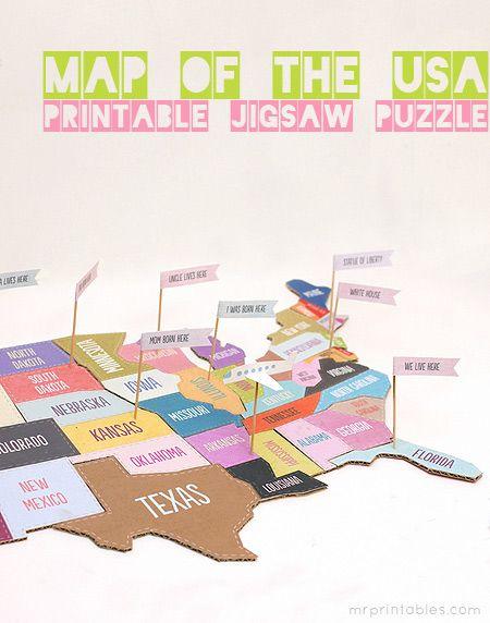 printable map of usa jigsaw puzzle