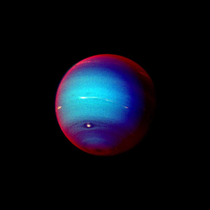Neptune Planet | ... image of Neptune. Red areas are semitransparent haze covering planet