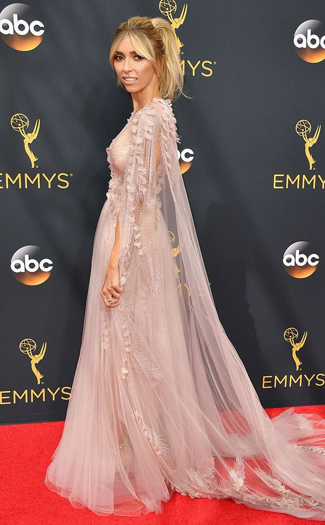 Giuliana Rancic in George Chakra Couture at the Emmys 2016: All the Details on Giuliana Rancic's Fairy Tale Red Carpet Look--Feathers, Beads and Sheer Glamour