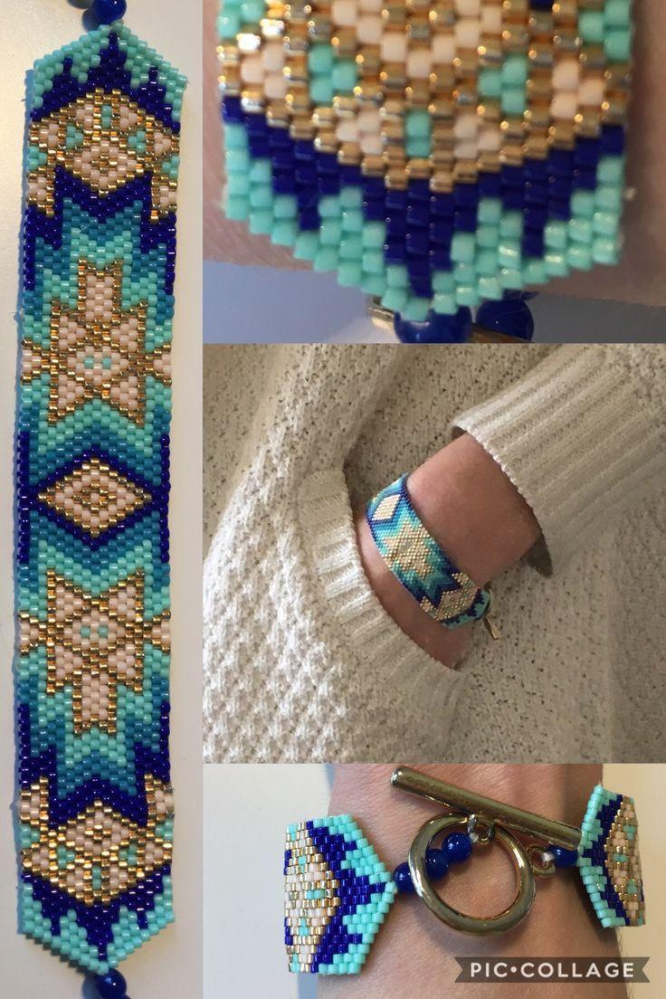 Bracelet inspiration aztèque en nuances de bleu et or #fashion #faitmain #miyuki #beadwork #beads #bracelet #bleu #vert #peyote #tissage