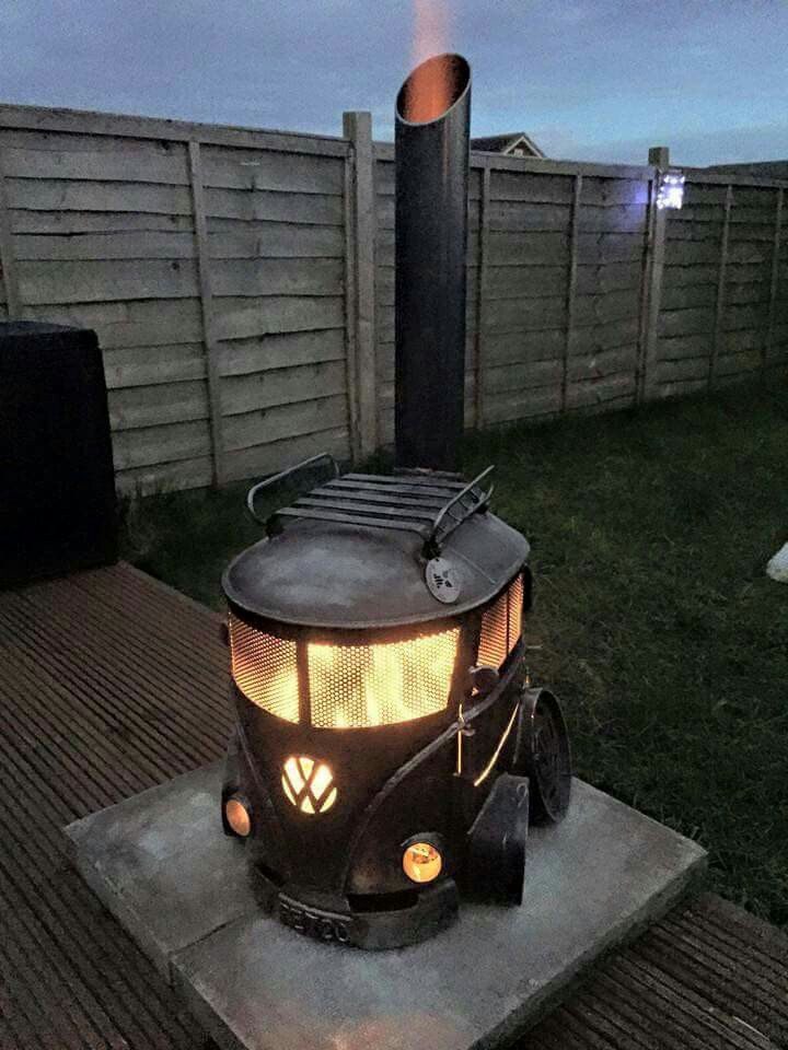 VW bus wood stove burner... how freaking awesome!