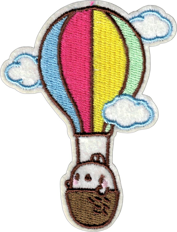 "EVERYTHING ELSE - Funny, Humor, Slogans, Weird Stuff & Misc. Random Goodness! Hot Air Balloon with Clouds and Cute Bunny (Cut Out to the Shape of the Design) Patch (2.375"" x 3.125"") - $2.99 - 1-PTR-43047"