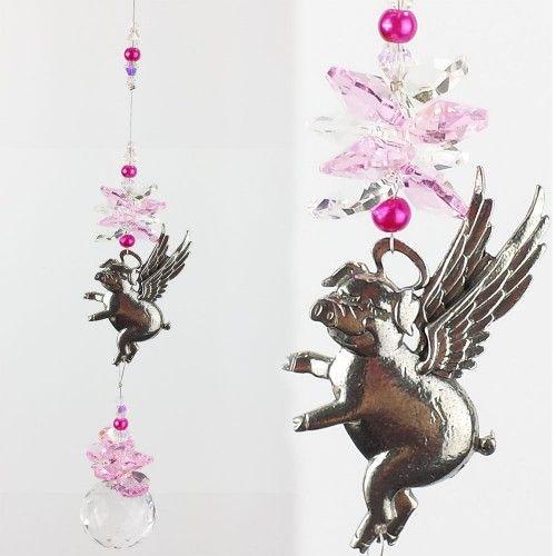Flying Pig suncatcher - FPSC001 - Crystal Suncatchers, Stick on Stained Glass, Leadlight Adhesive Overlay - Just Like Leadlight