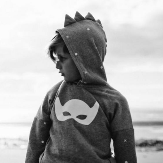 Beau Loves Spiked Superhero Hoodie - Grey Marle