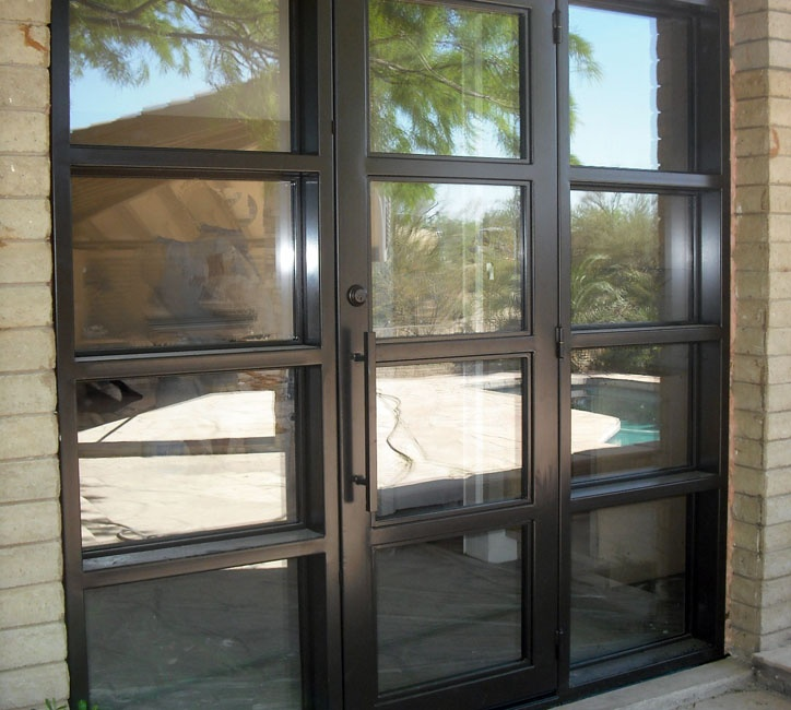 steel door with sidelights