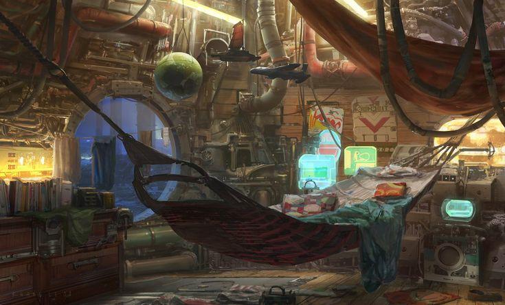 Apartamento del futuro con hamaca. Ilustracion de Khang Le.