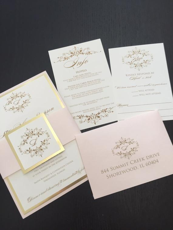 Wedding Invitations Gold Wedding Invitation Blush And Gold Wedding Invitations Free Rsvp Envelope Printing In 2020 Blush Wedding Invitations Gold Wedding Invitations Fun Wedding Invitations
