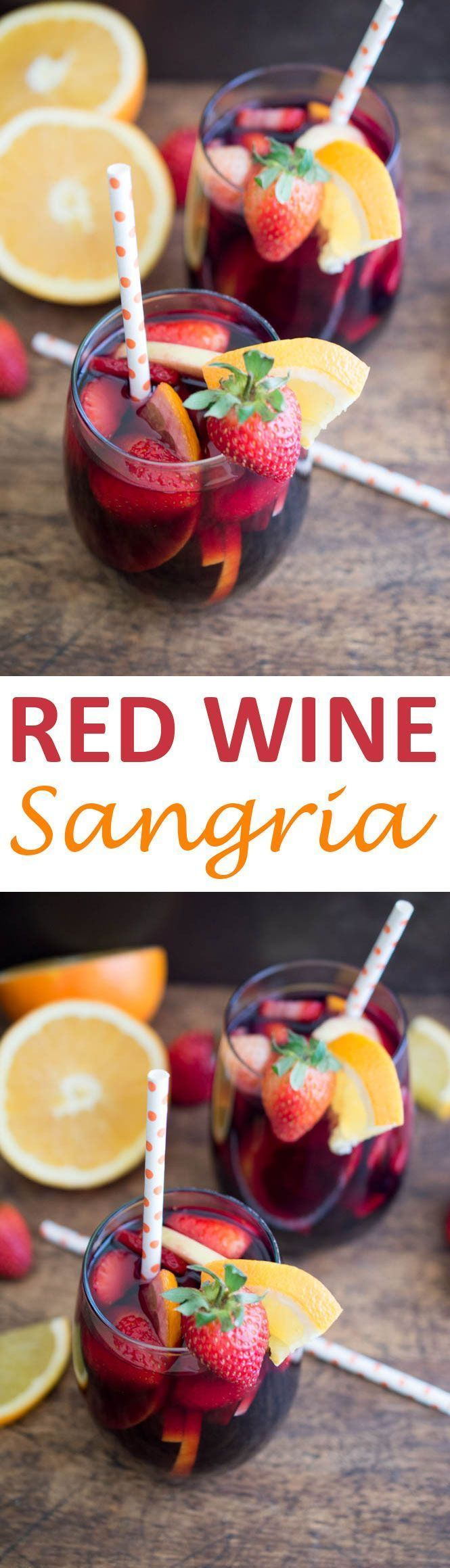Simple and Fruity Red Wine Sangria. Made with fresh fruit, red wine, brandy and pomegranate juice. Perfect Fall or Winter cocktail. | chefsavvy.com