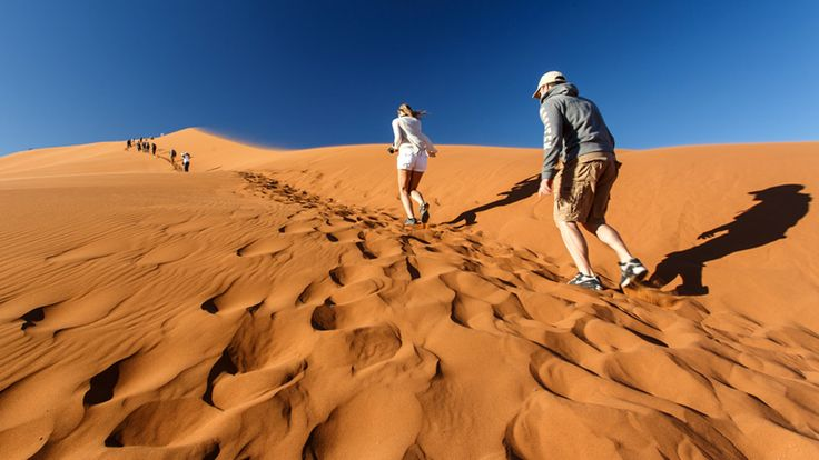 Hike the largest sand dunes in the world found in Sossusvlei, Namibia with Ker & Downey Africa #luxurytravel #desert #namibia