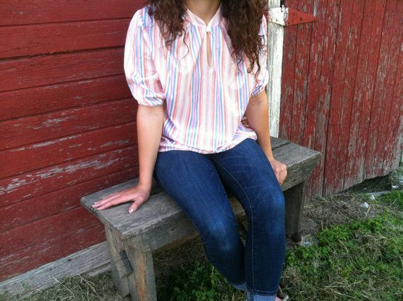 Vintage Hipster Blouse  Retro Striped Pastel by happydayantiques