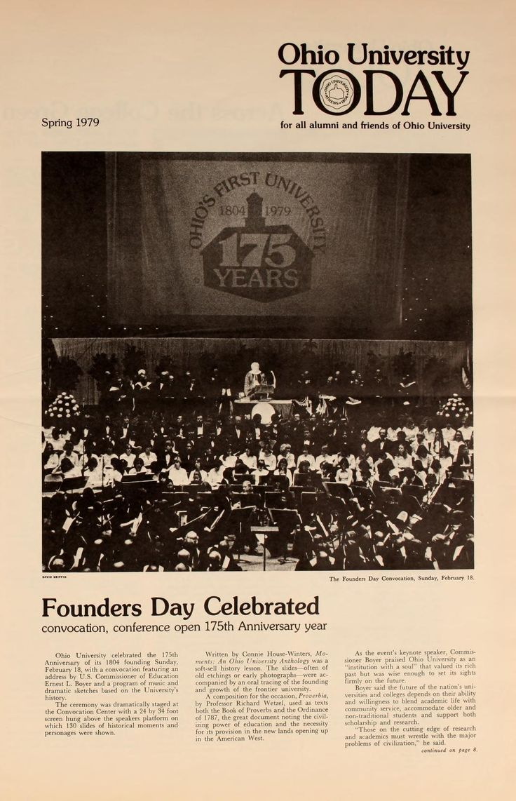 """Ohio University Today, Spring 1979 """"Founders Day Celebrated: Ohio University celebrated the 175th Anniversary of its 1804 founding Sunday, February 18, with a convocation featuring an address by U.S. Commissioner of Education Ernest L. Boyer and a program of music and dramatic sketches based on the University's history."""" :: Ohio University Archives"""