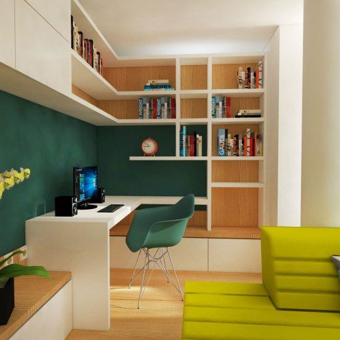 Work place in dining room with green color accents