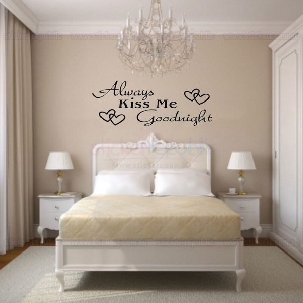 Don't forget to kiss your loved one goodnight! This 'Always Kiss Me Goodnight' Words with Heart Wall Decal is the ideal reminder of the best way to end your day, by sharing the intimate moment that is exclusive to you and your beloved: a kiss goodnight.