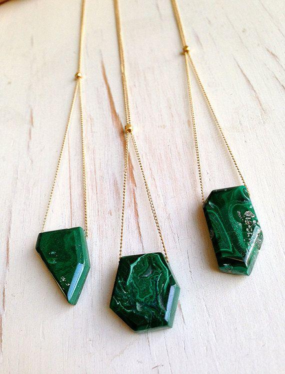 Malachite Necklace Malachite Jewelry Gemstone Necklace Semi Raw Malachite Necklace