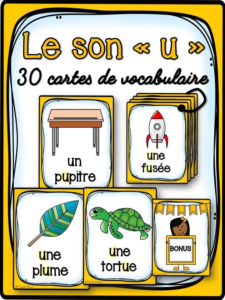 """30 cartes de vocabulaire avec des mots contenant le son """"u"""". Ces cartes peuvent être utilisées dans des jeux de lecture ou comme référentiel pour ce son"""
