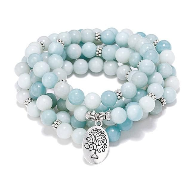 108 Natural Blue Lace Agate Amazonite Stone Meditation Mala