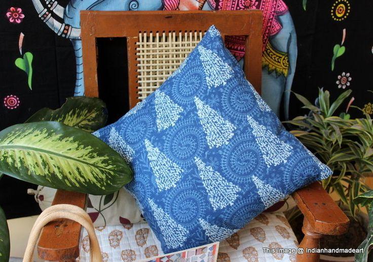 Indigo Blue Cushion Covers Fair Trade Handmade Indian Heavy Weight 100% Cotton 8 #Handmade #Traditional #PillowCoverPillowShamCushionCover