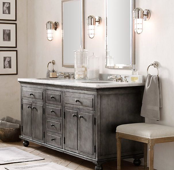 Lovely Distressed Bathroom Vanity Cabinets