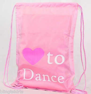Love to Dance string backpack gymsac PE school tote swimming gym student bag sac in Home, Furniture & DIY, Stationery & School Equipment, School Bags | eBay