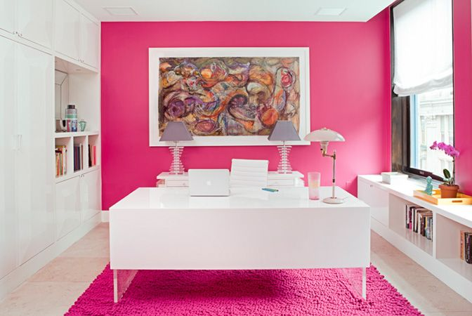 gorgeous home office space, bright pink yet still professional and chic