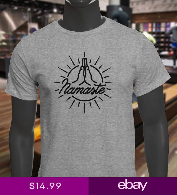 NAMASTE PEACE HANDS BLACK MEDITATION YOGA ZEN SUN Mens Gray T-Shirt