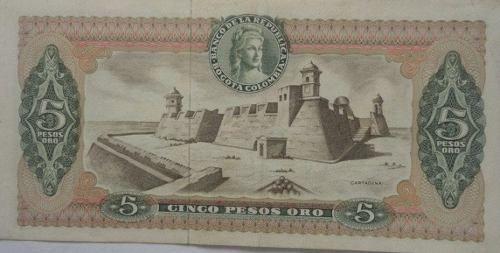 Billete De 5 Pesos Oro