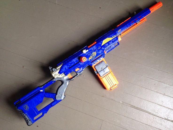 NERF Longstrike CS-6 N-Strike Gun VHTF Variation Blue Sniper Rifle LongShot  in