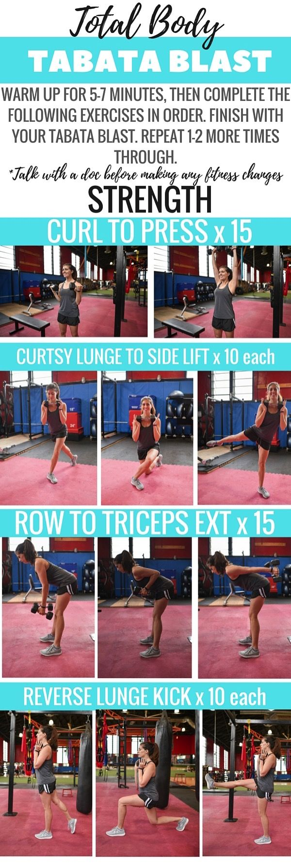 Quick strength circuit using dumbbells -- perfect to complete before a sweaty tabata