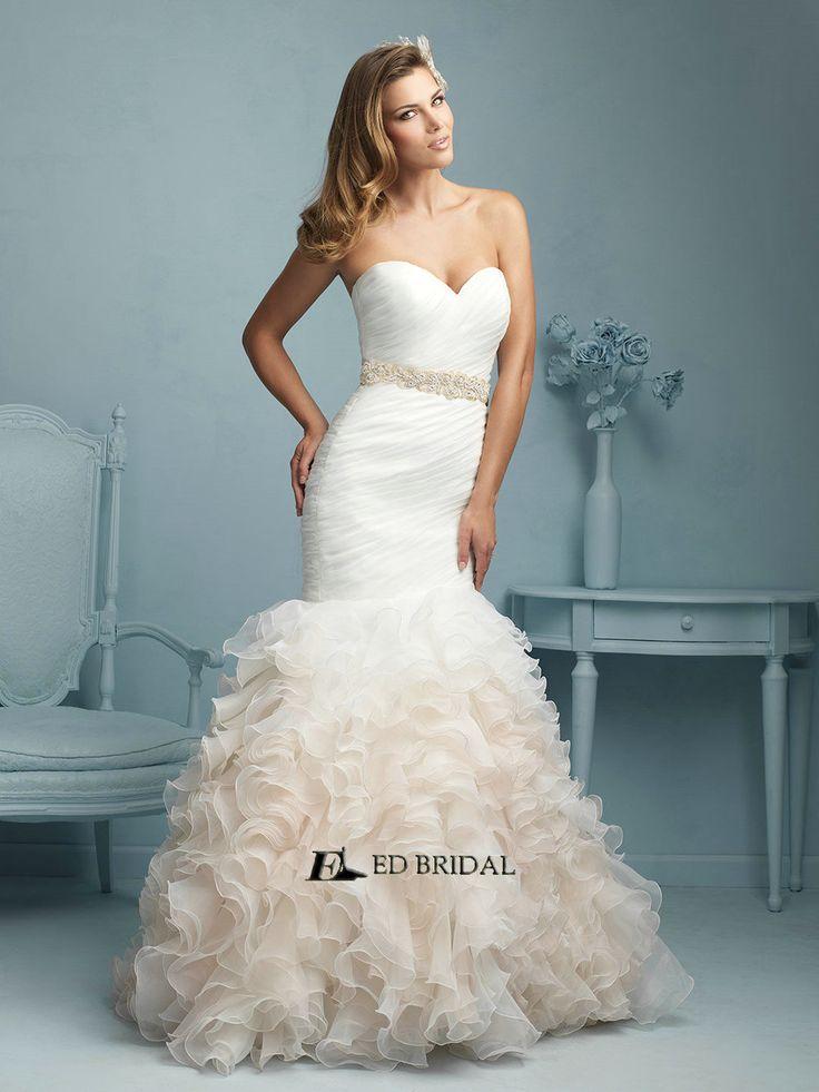 Strapless Organza Beaded Ostrich Feather Wedding Dress - Buy Ostrich ...