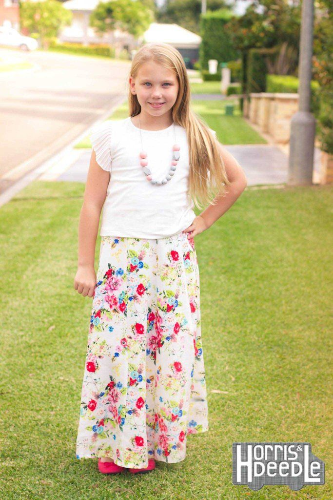 PDF Pattern: Girls Lovebug A-line Skirt sewing pattern. Shown here with in maxi length.
